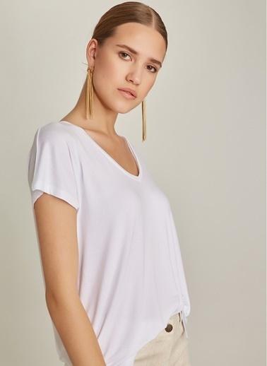 NGSTYLE V Yaka Basic Tişört Beyaz